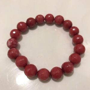 Jewelry - Rose Faceted Gemstone Stretch Bead Bracelet